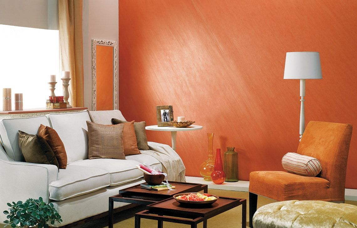 Wall Colour Combination Orange Living Room Paint Interior