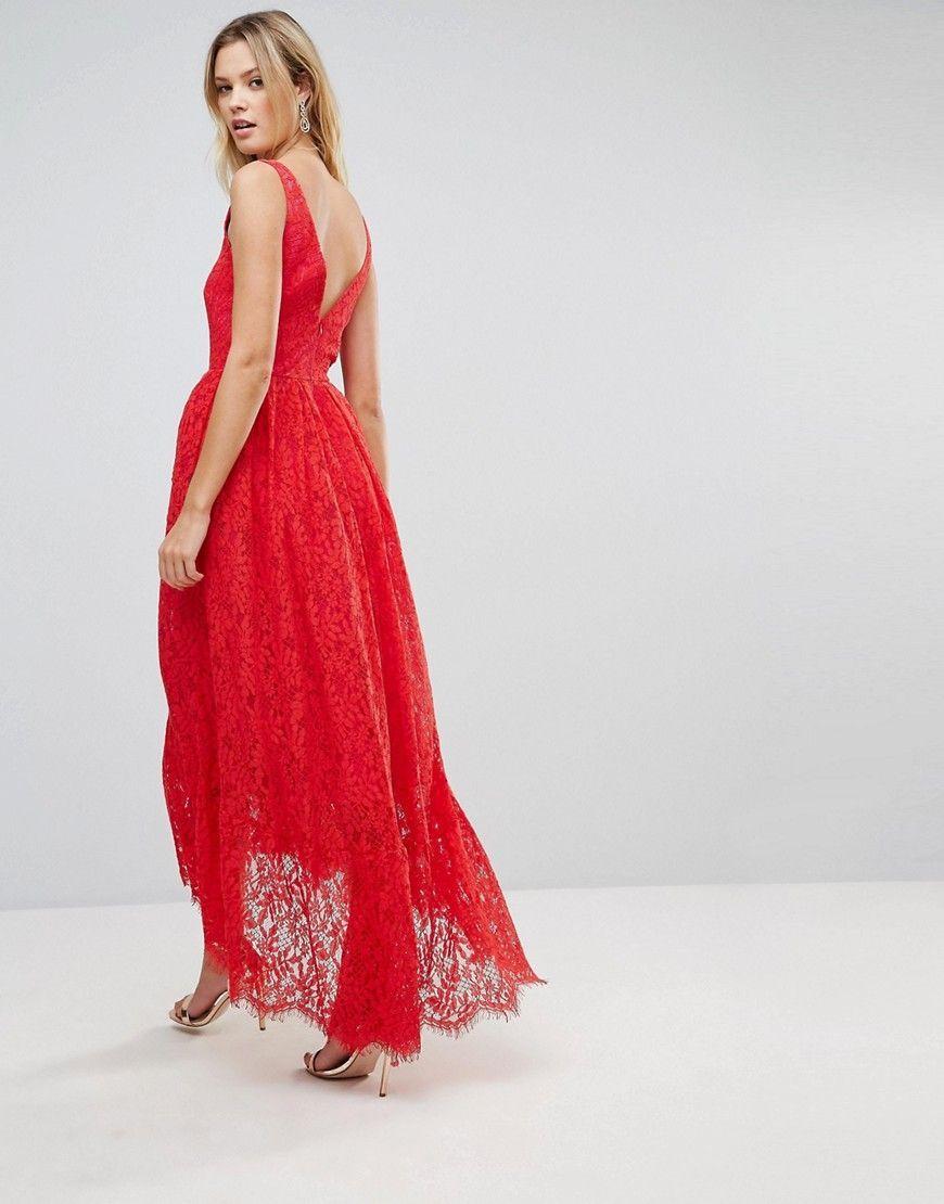 47f4efb83e ASOS TALL Square Neck Pephem Midi Dress - Red