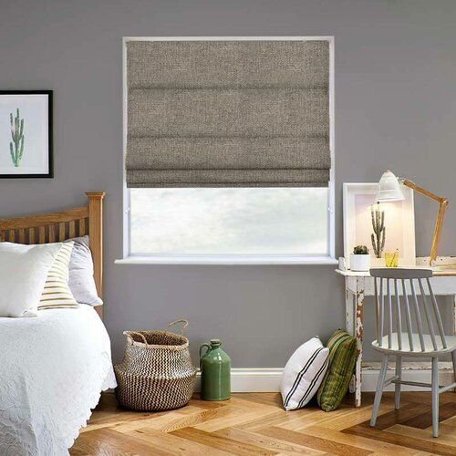 Photo of Hopsack Blackout Lined Roman Blind Clay August Grove Size: 140 cm W x 200 cm L, Colour: Quarry
