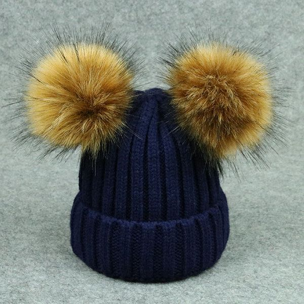 454fe0cc927f2d Kid Winter Beanie Hats Thicken Knitted Caps for Children with Two Pompom  Fur Ball For 1Y-6Y