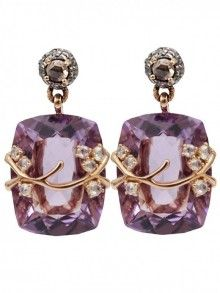 Federica Rettore Amethyst And Diamond  Earrings
