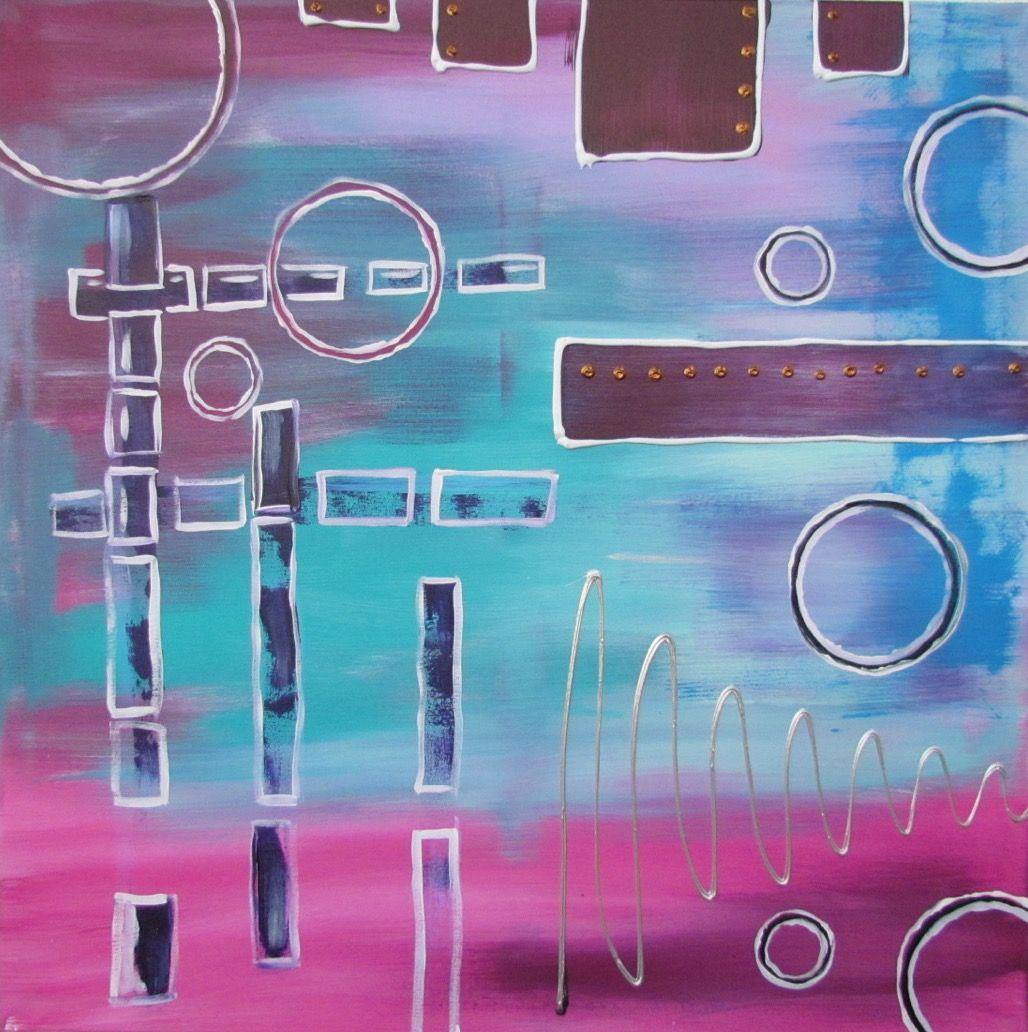 Abstraktes Acrylbild Blau Lila Acrylbilder Acryl Und Abstrakt