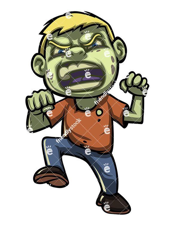 Scary Little Boy Zombie Cartoon Clipart Vector Friendlystock Cartoon Clip Art Zombie Cartoon Cartoon
