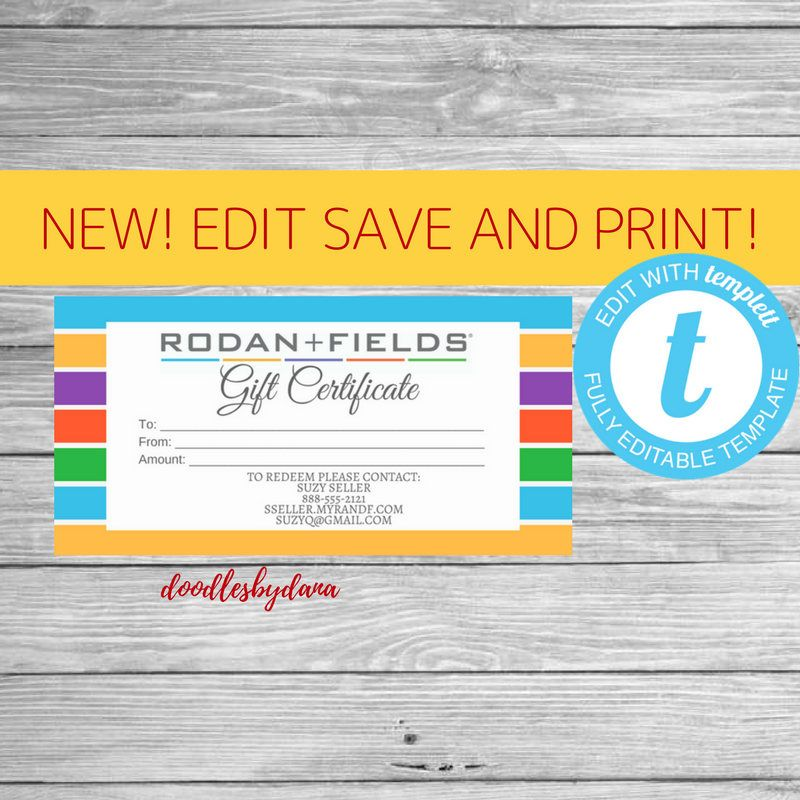 Edit, Save and Print!!! Rodan and Fields Gift Certificate - Check ...