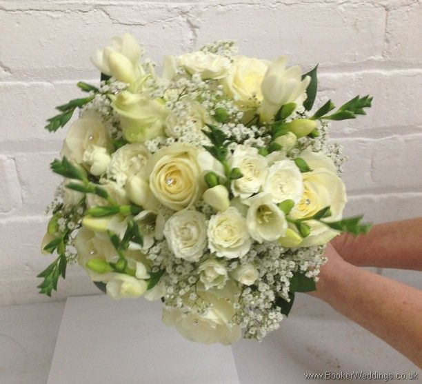 All White Wedding Flowers Theme Hand Tied Bridal Bouquet With Roses Spray Freesia