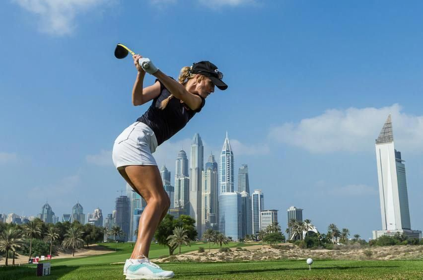 Paige Spiranac of the USA on the 8th hole during the first