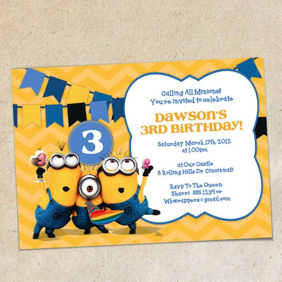 Minions Chevron Bunting Invitation Template Instant Download You - Party invitation template: minion birthday party invitations templates