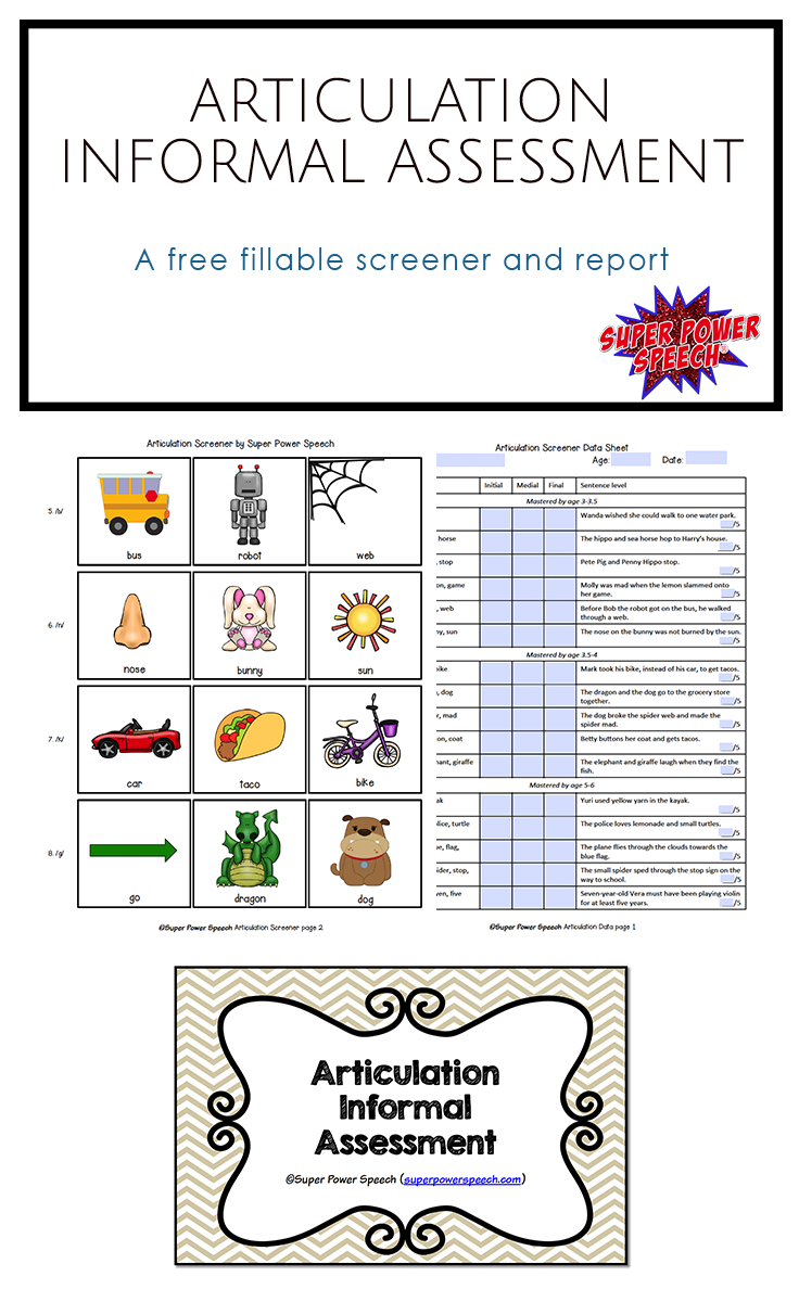 Free Informal Articulation Assessment And Resource Library  Free