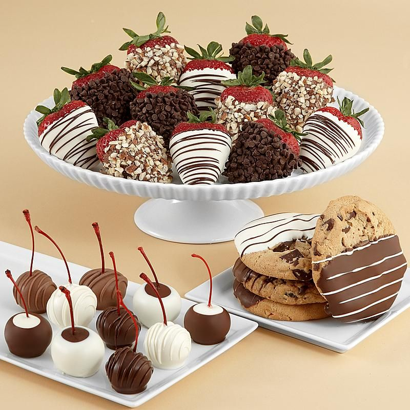 Pair 12 of our best-selling fancy strawberries, with ten delicious dipped maraschino cherries, and drop in four bakery-fresh dipped cookies, and you have an amazing sweet bonanza to send to someone very special.