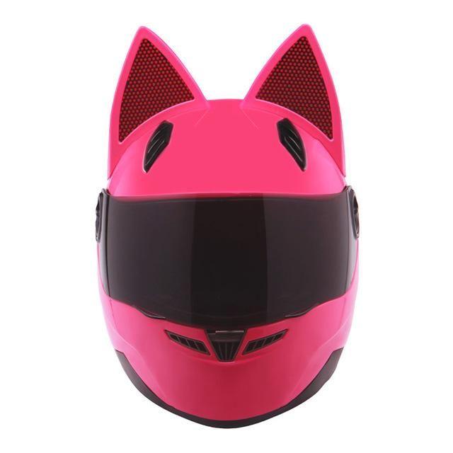 Nitrinos Motorcycle Helmet Women Cat Helmet Full Face Casque Moto