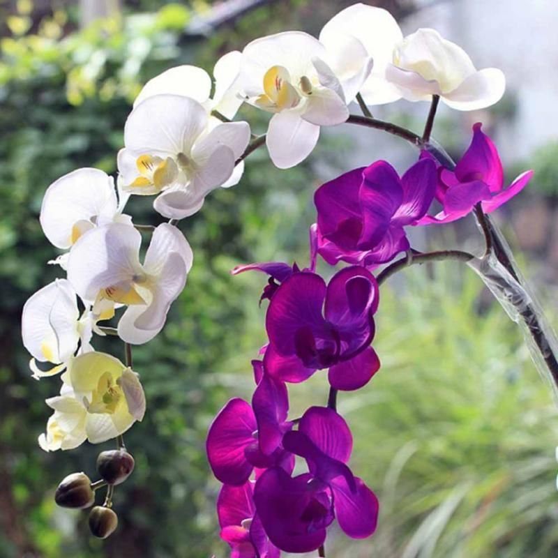 New 1 Piece Artificial Butterfly Orchid Artificial Flower Plant White Purple For Wedding Bo Cheap Artificial Flowers Purple Flower Arrangements Orchid Flower