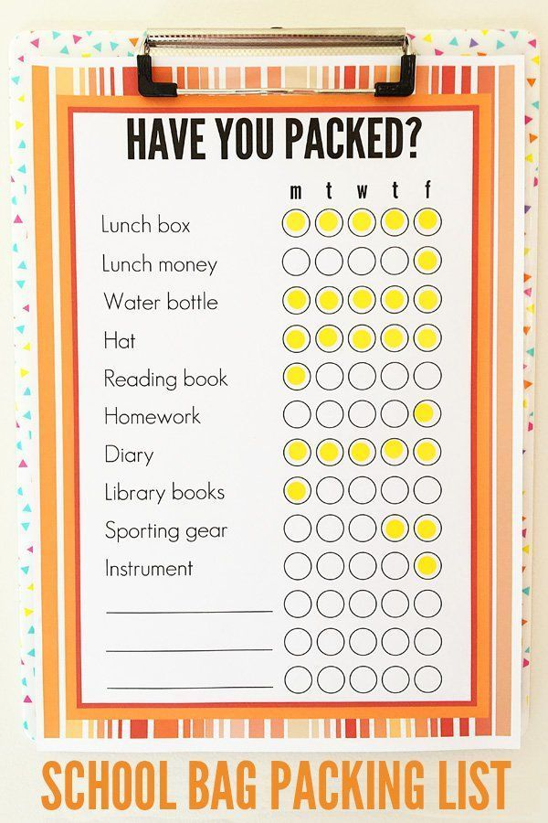 Back To School Printable School Bag Packing List  School And Parents