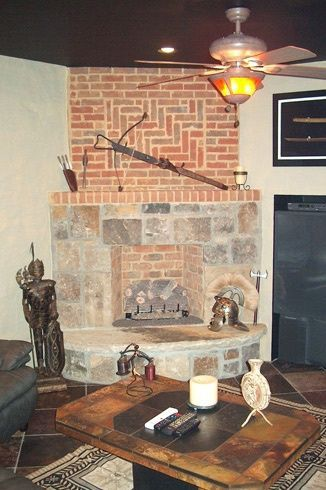 Interior Fieldstone Ashlar Brick Fireplace Fireplace Backyard
