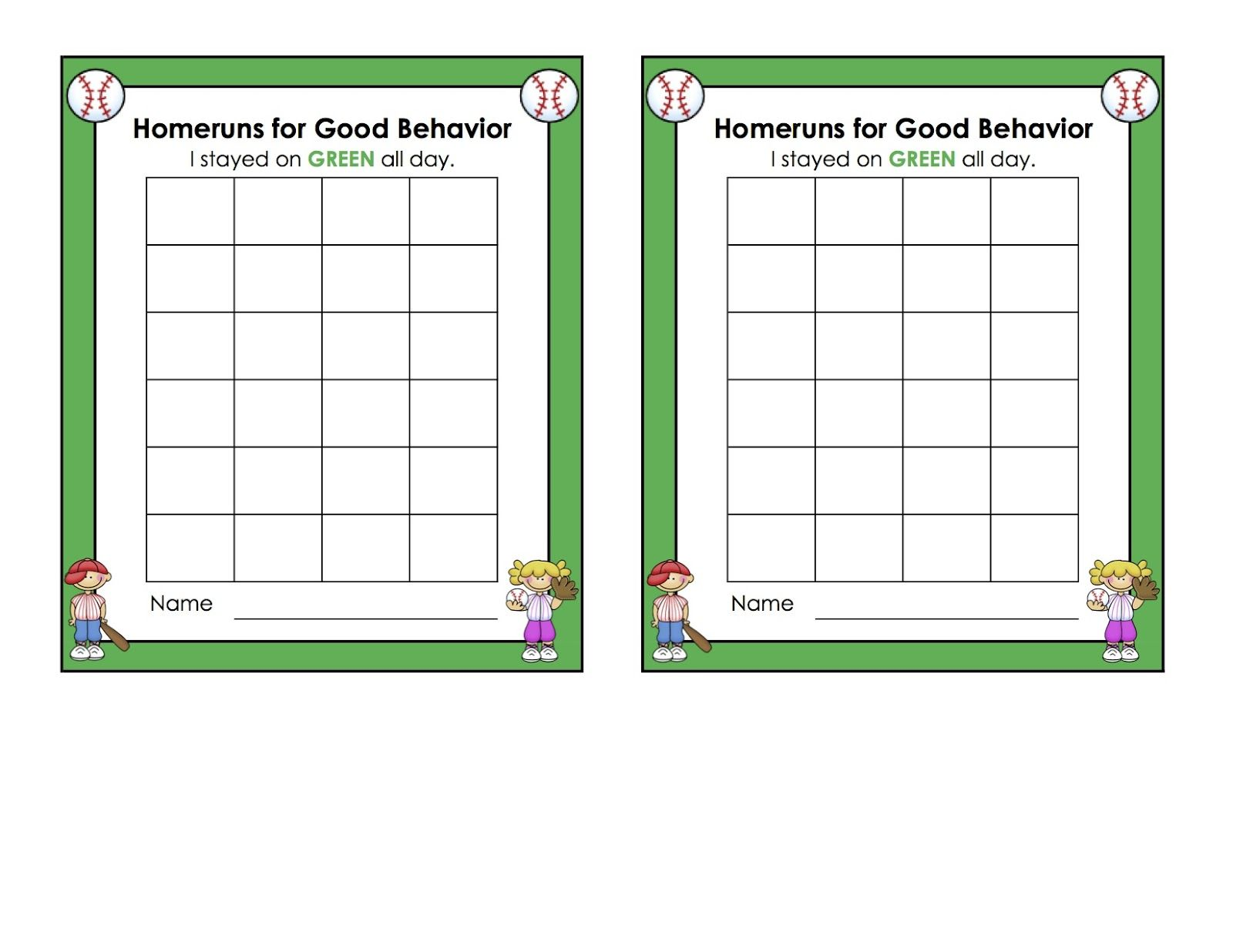 Behaviour Charts For 6 Year Olds