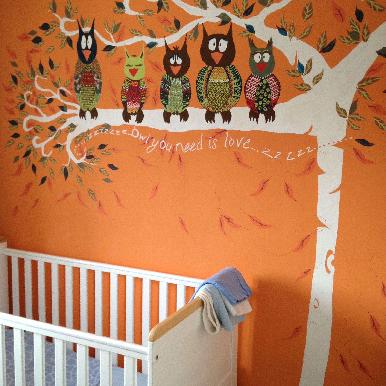 Nursery Owl Mural Finished Mural For My Baby Boys Nursery