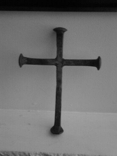 Railroad spike crucifix