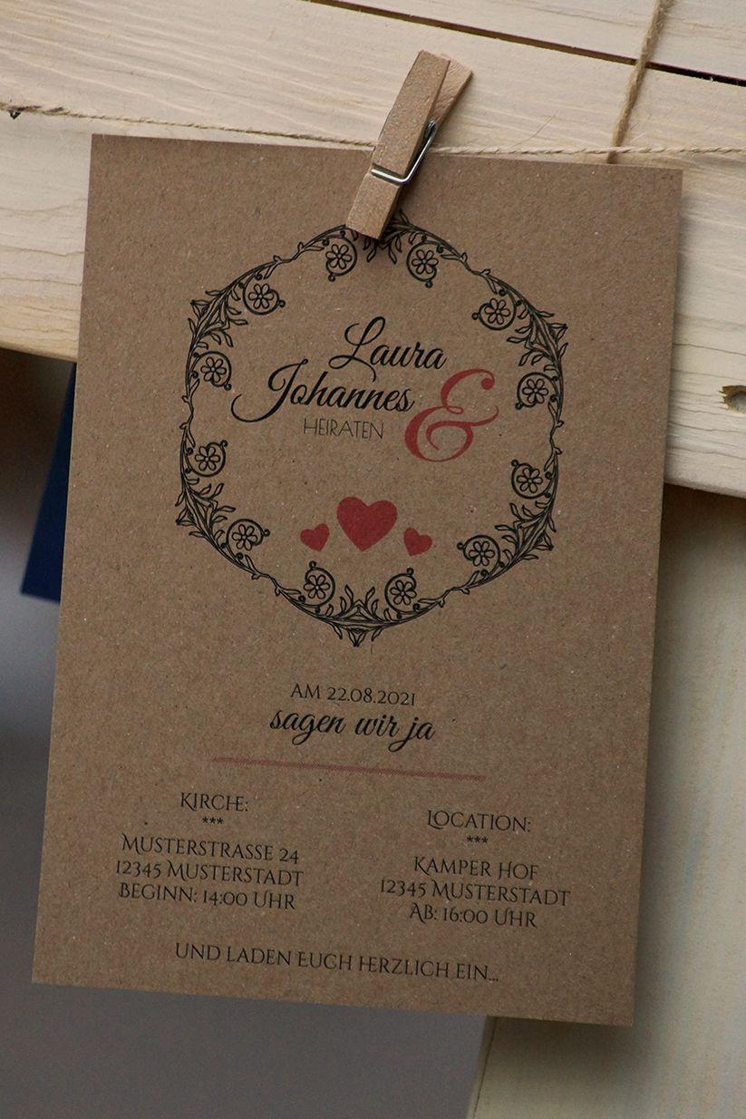 Vintage Hochzeitseinladung Auf Kraftpapier Selbst Gestalten Jetzt