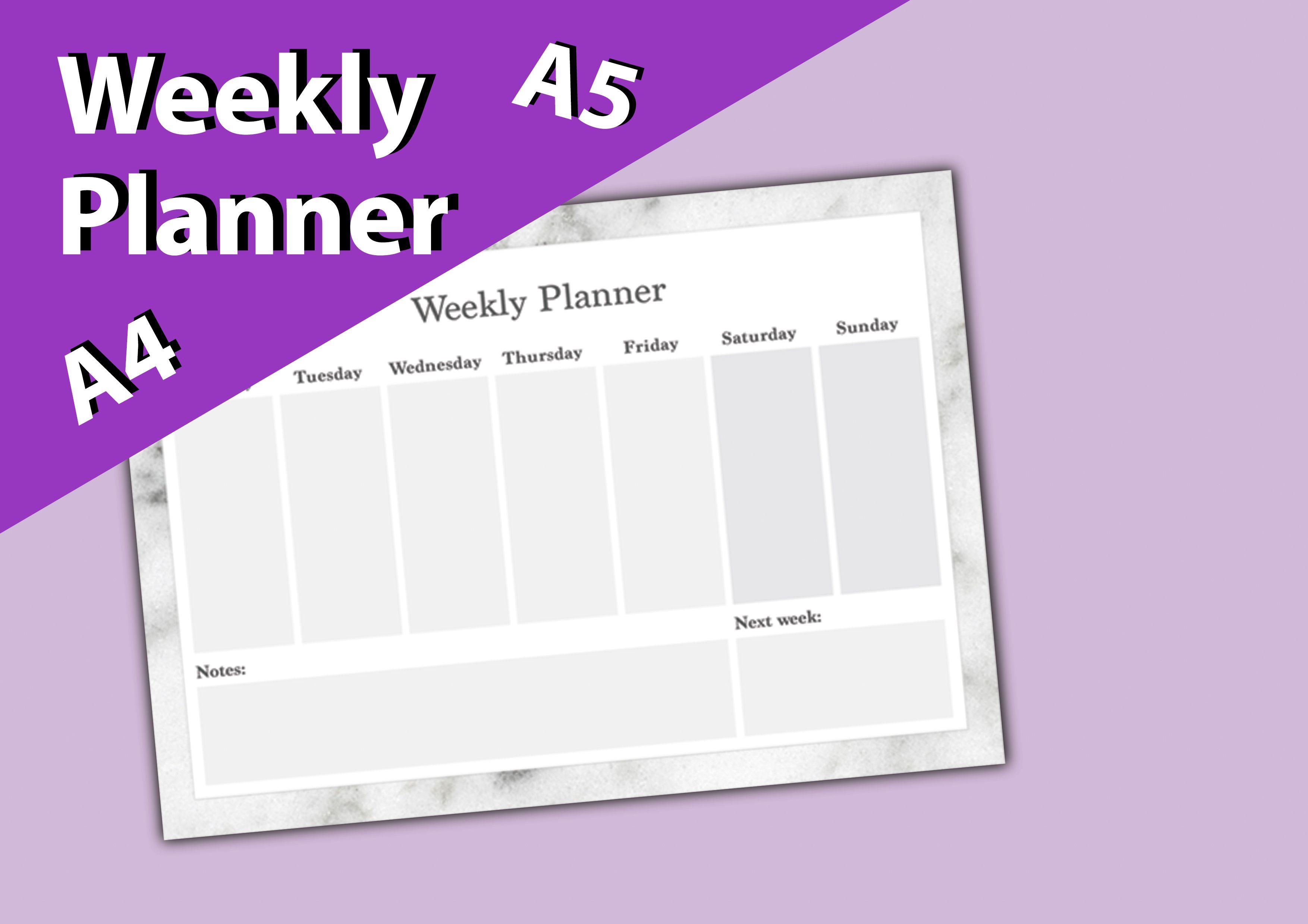 Planner Printable Weekly Planner  Agenda  Weekly