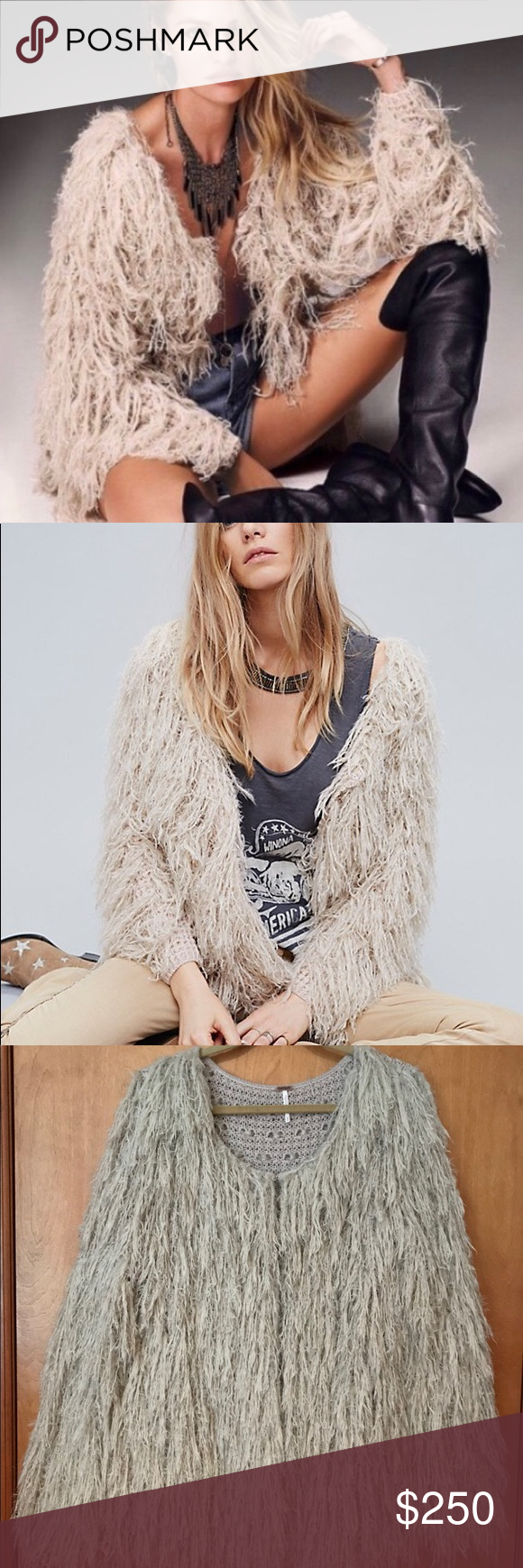 547883a6d8cdd2 NWOT Free People Faithful Shaggy Cardigan Sand color! In flawless  condition! Free People Sweaters Cardigans