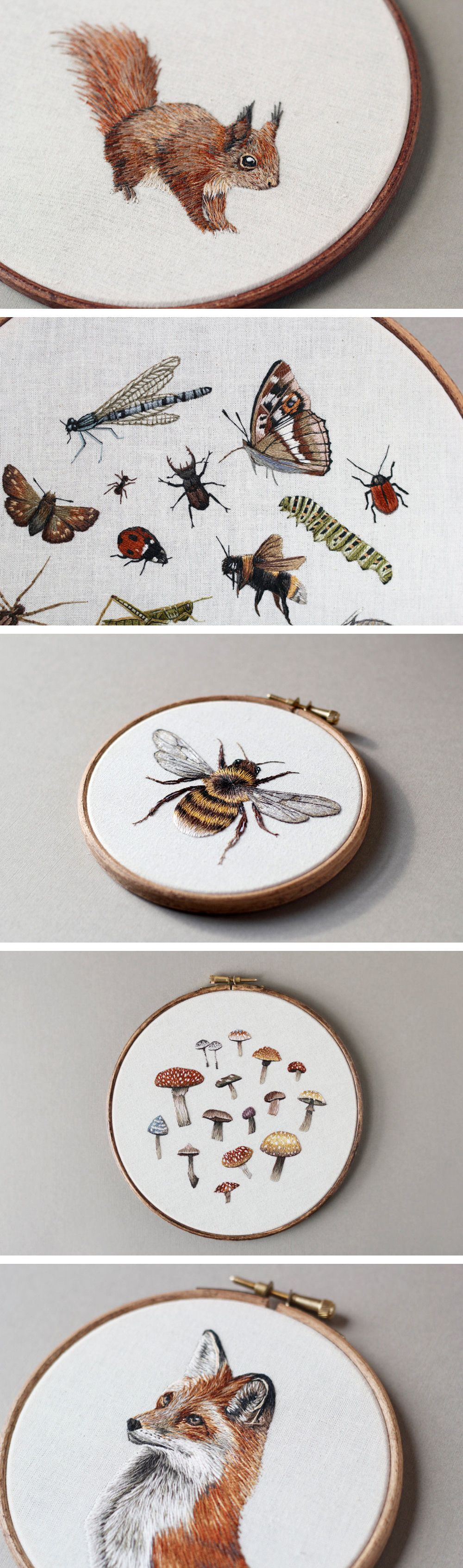 Embroidered Mushrooms, Animals, and Other Forest Creatures by ...