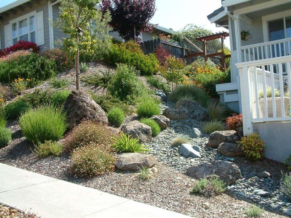 Steep Hillside Streambed Hillside Landscaping Dry Riverbed Landscaping Landscape Design