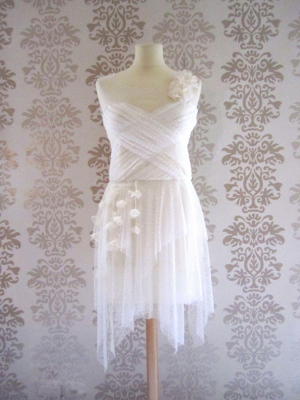Rachel white cream floral lace sweetheart romantic short handmade