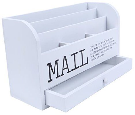 Mail Organizer - 3 Tiered White Letter File Wooden Desk Compartment Sorter Organizer Storage Drawer- 11""