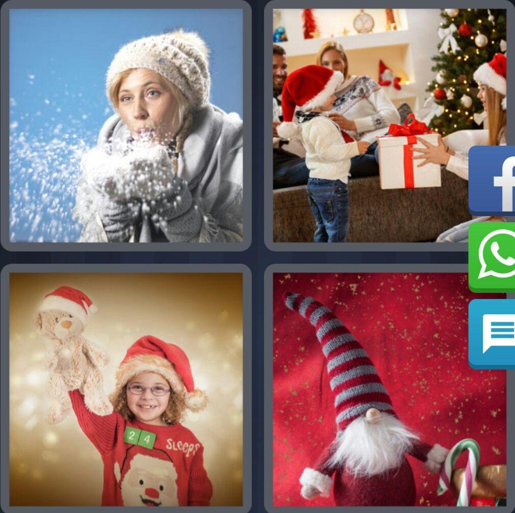 4 Fotos 1 Palabra Navidad Nieve Niña con Osito de Peluche Niño con Regalo  Papa Noel 4e7a2123927
