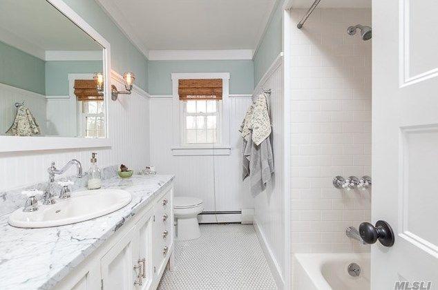 Updated Bath. Carrera Marble. Custom Vanity. Hexagon Merola Tile. Benjamin  Moore, · Woodlawn BlueCustom ...