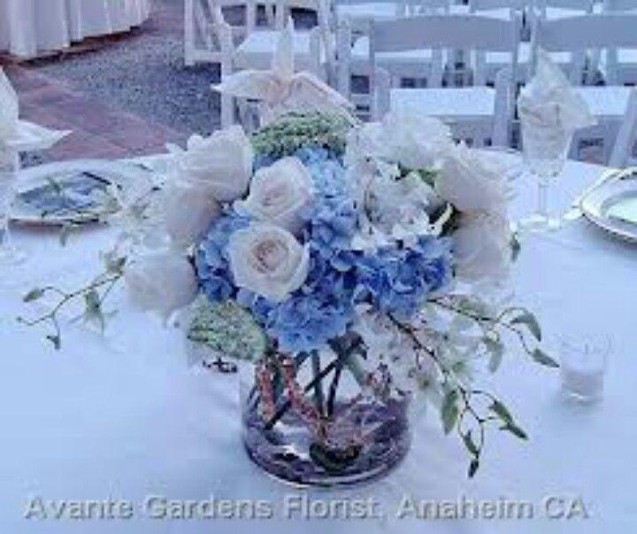 Blue White Flowers Cheap Wedding Centerpieces Blue Flower Arrangements Pretty Wedding Centerpieces