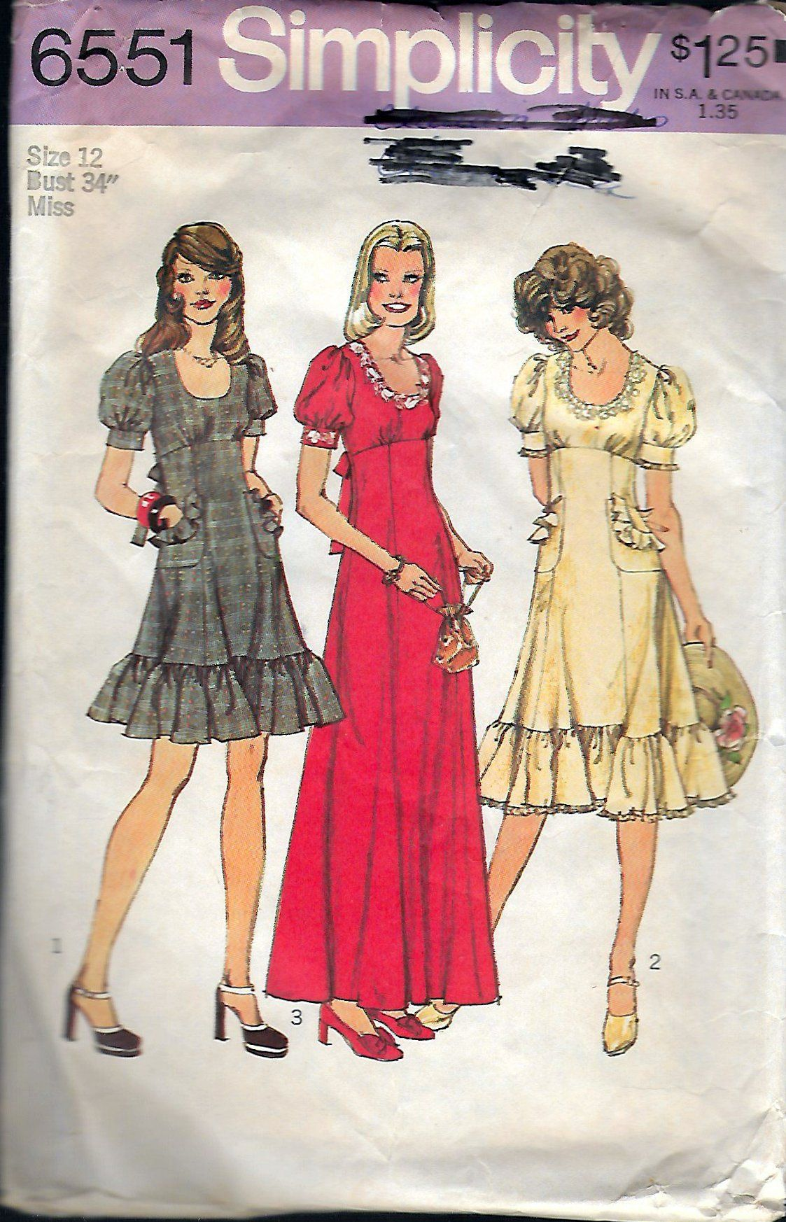 Vintage 1974 Simplicity 6551 Retro Dress In Three Lengths Sewing ...