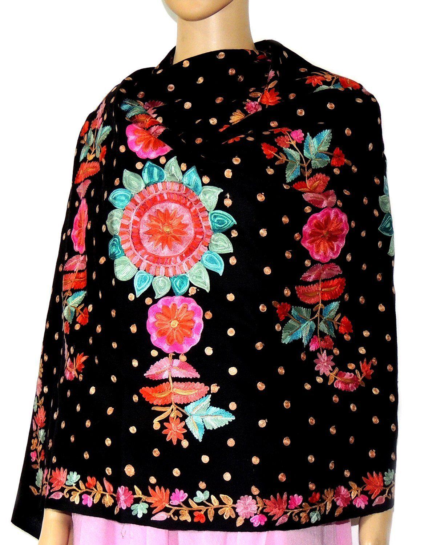 Indian Fashion Guru Black Gift Designer Woolen Stole Stoles Flower Design Embroidery Stole Shawl Amazon Fashion Indian Fashion Indian Fashion Designers