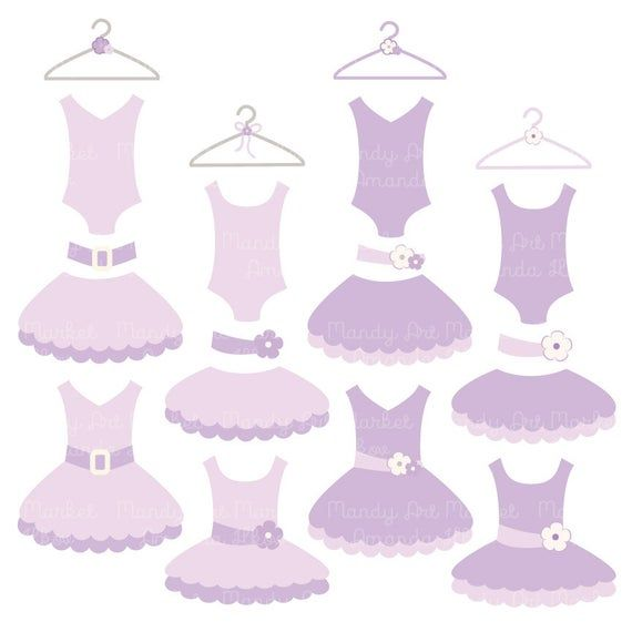 Premium Lavender Tutu Clip Art, Pink Dress Clip Art for Digital Scrapbooks, Crafts, Invitations - Tutus, Dresses, Purple Ballet Clipart