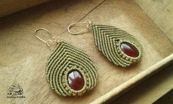 Carnelian macrame earrings handmade earrings by byLaughingBuddha