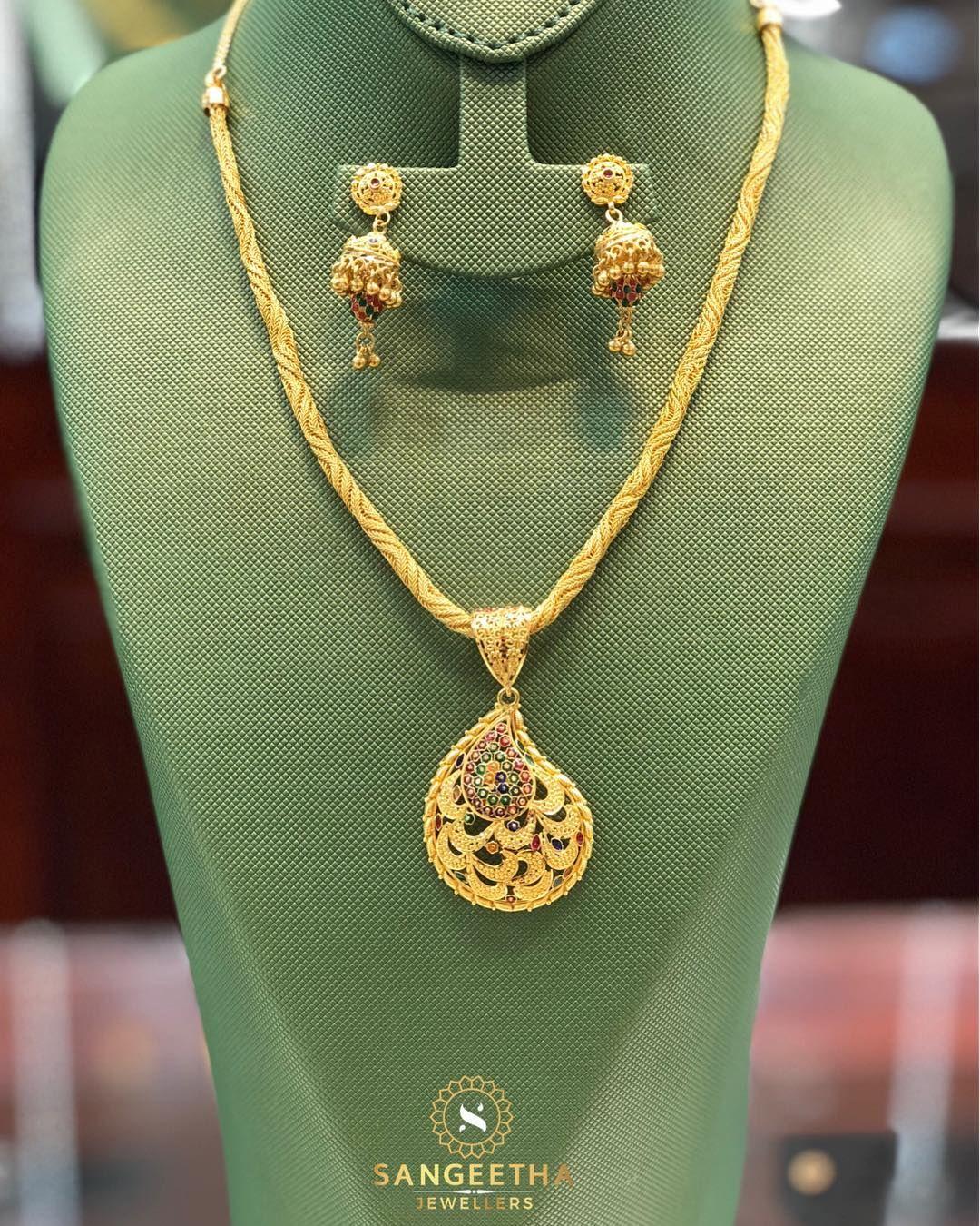 Elegant pendant and earring set sangeethajewellers instagold gold