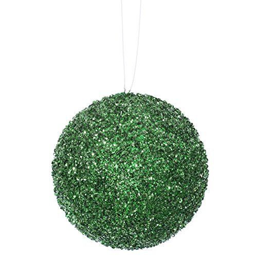 Felices Pascuas Collection 3ct Emerald Green Sequin and Glitter Drenched Christmas Ball Ornaments 4.75 inch (120mm)