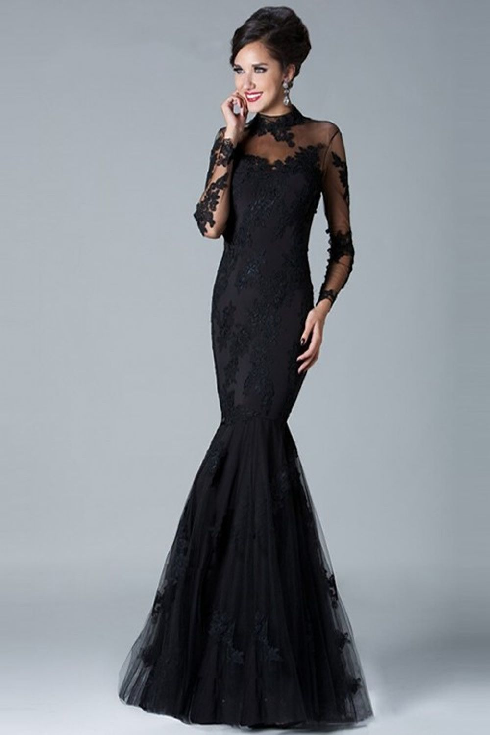 Gorgeous Applique Tulle Long Sleeve Floor Length Party Dresses ...