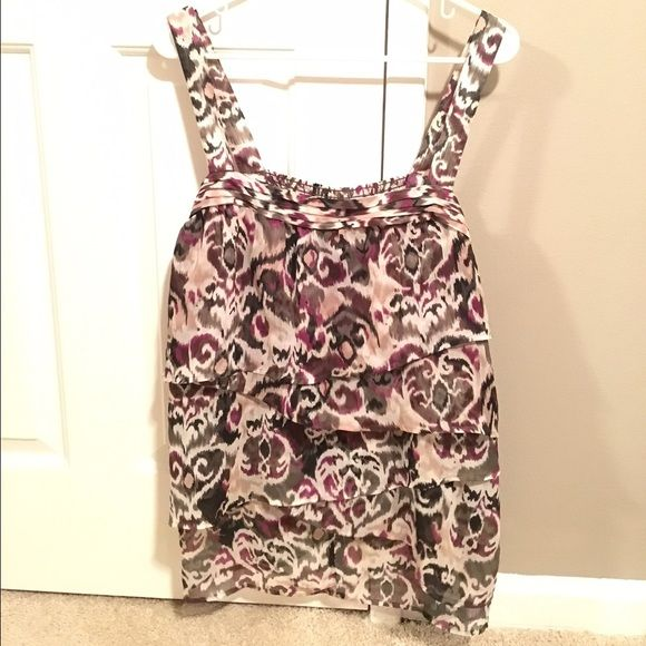 Lane Bryant Layer Tank Sz 18/20 - Ikat Bohemian Love this flowy, layered tank!  Colors are tan, purple, green, brown, black, and cream.  The length is perfect- it goes over the hip and just about covers the tush. Lane Bryant Tops Tank Tops