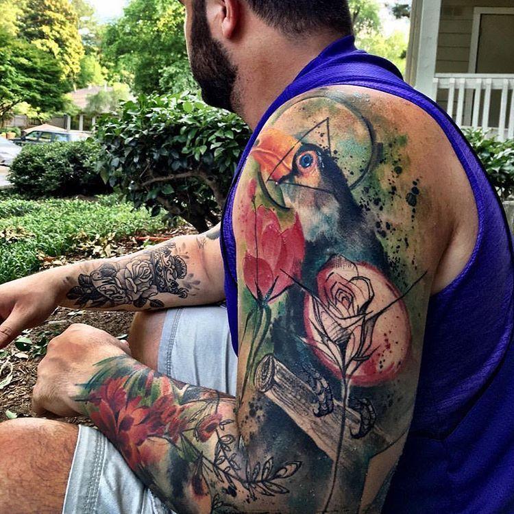 50 Truly Artistic Watercolor Sleeve Tattoos Tattoos Leg Tattoos