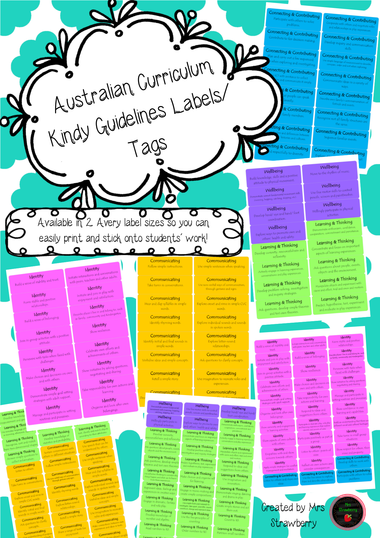 Kindy Curriculum Guidelines Labels For Portfolios And Learning Journals