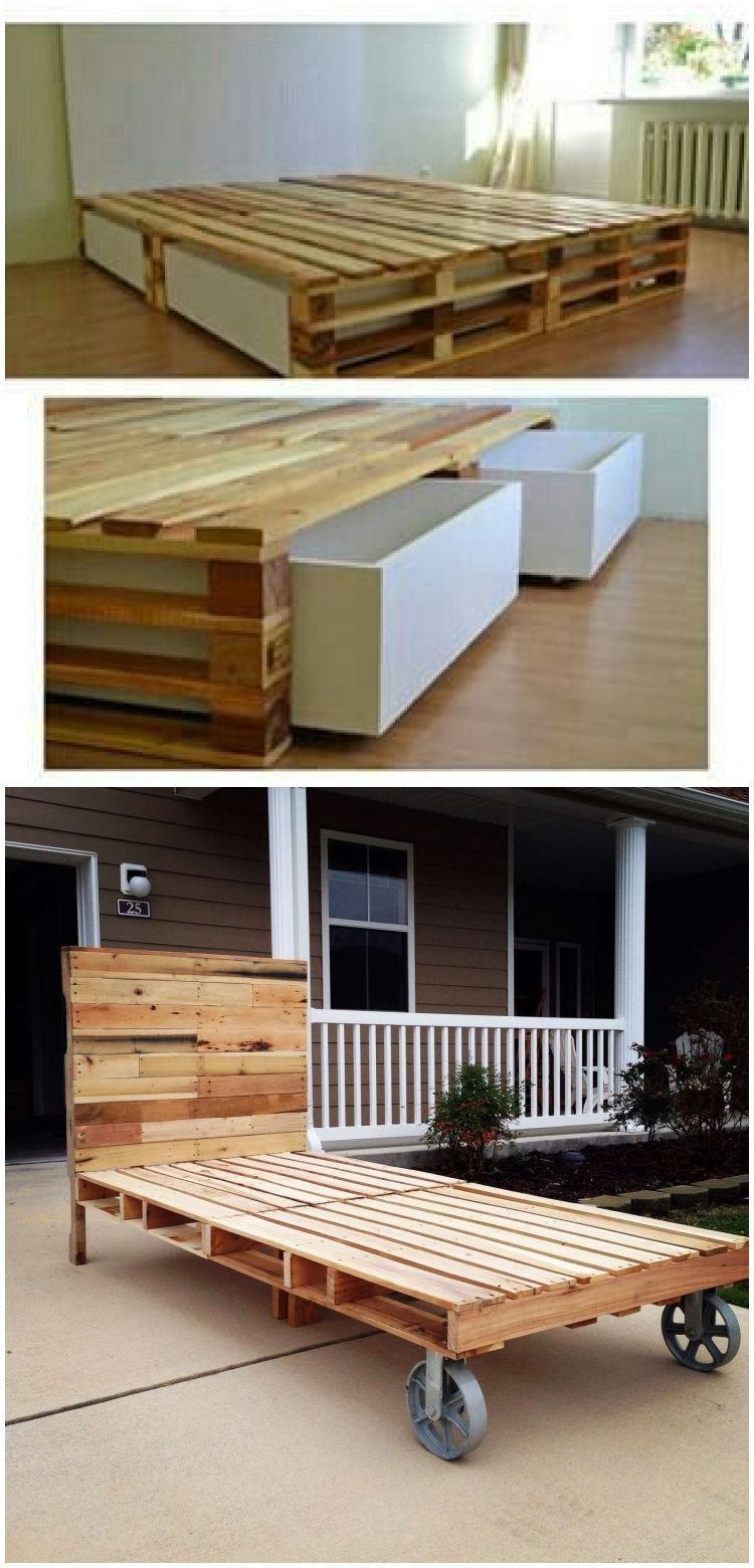 Pin by Danielle Bacchi on Furniture in 2020   Bed storage ... on Pallet Bed Room  id=27294