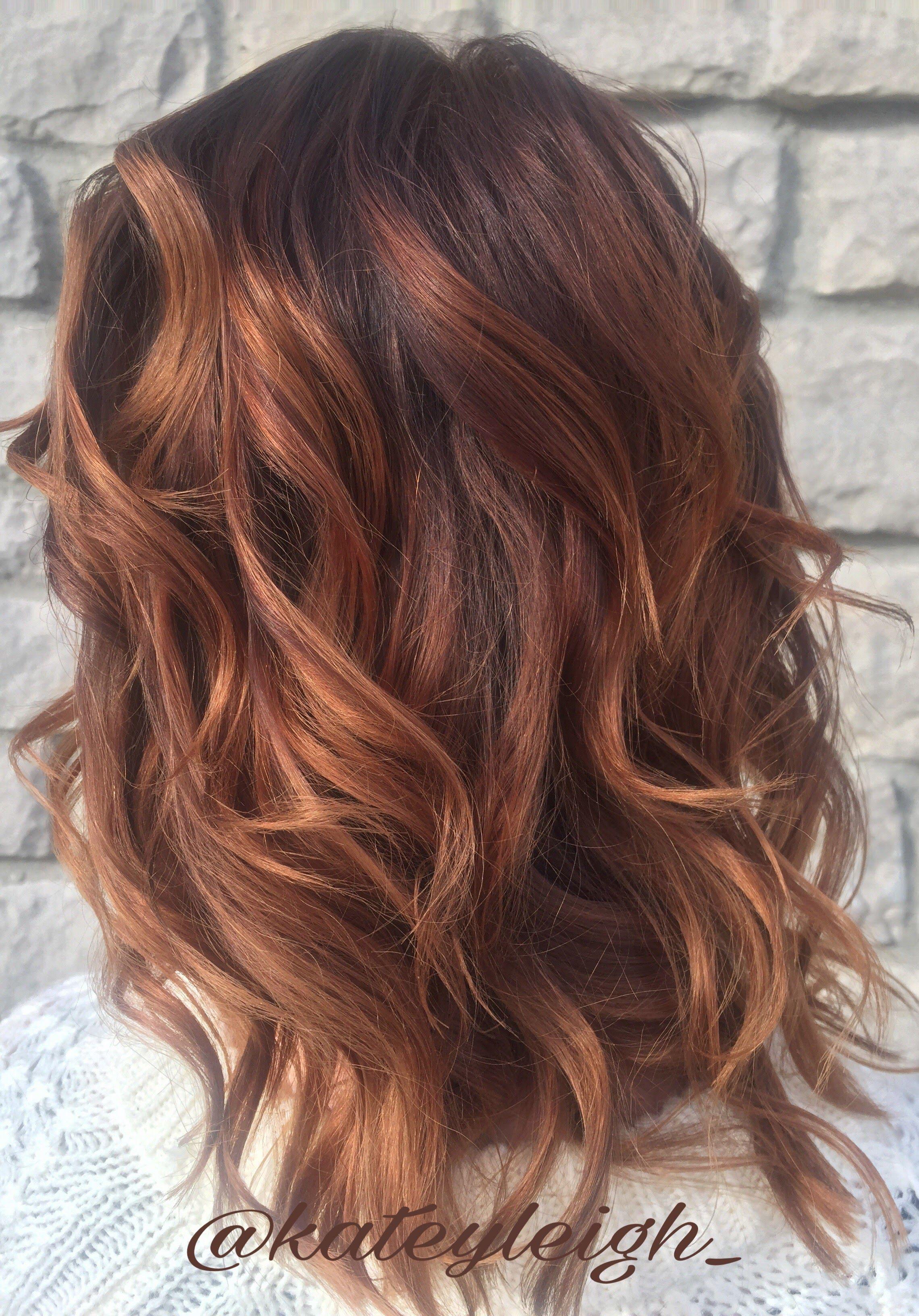 Rose Gold Balayage On A Base Of Red Hair Using Pravana Chromasilk Hair Color And Pravana Express Tones Short Hair Balayage Auburn Balayage Balayage