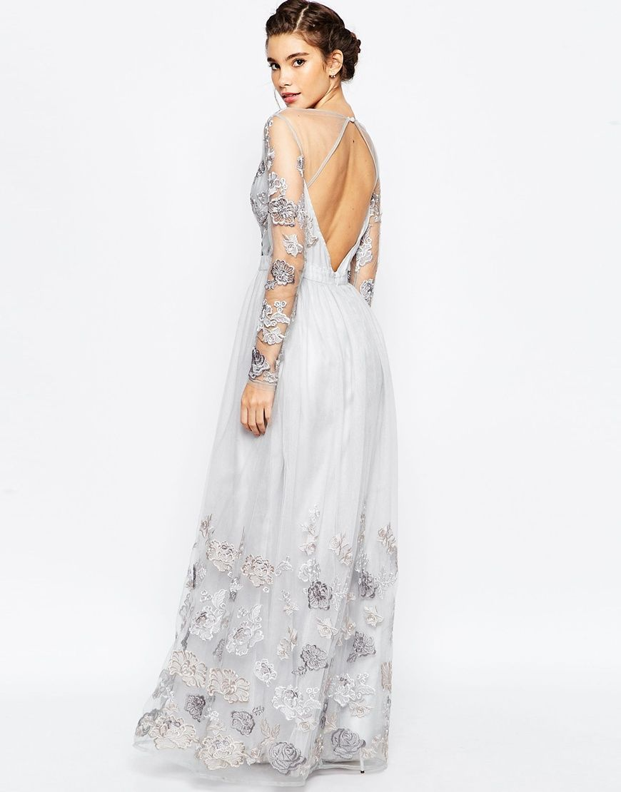 chi chi london open back maxi dress with floral embroidery. Black Bedroom Furniture Sets. Home Design Ideas