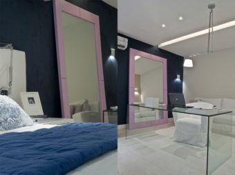 espelho com moldura colorida para quarto de casal