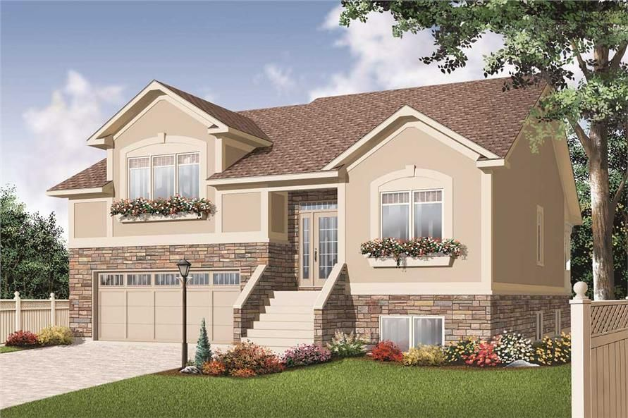 This is the front elevation for these Split Level House Plans. This is the front elevation for these Split Level House Plans