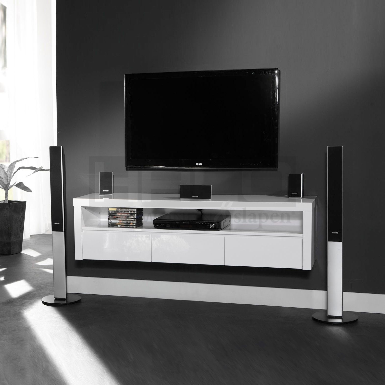 Haco tv meubel hangend cool 150cm moodboard cantate for Muebles tv colgados