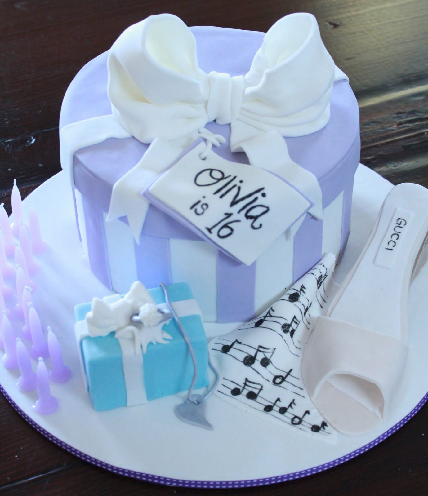 Blissfully Sweet Striped Gift Box Sweet 16th Birthday Cake In