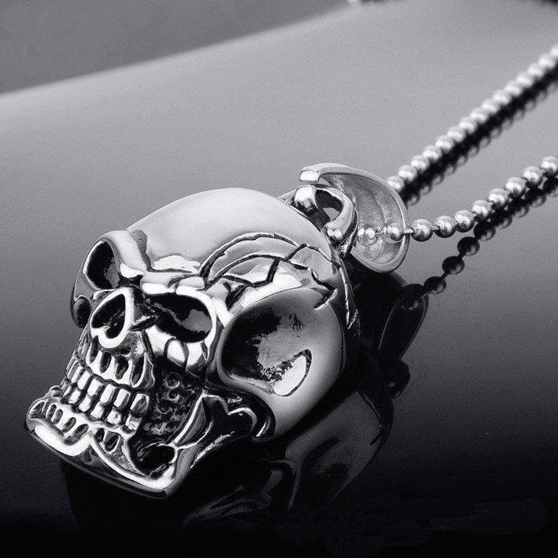 Fashion Infinity Tibet Silver Black Stainless Steel Skull Pendant Necklace Gift
