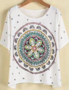 White Short Sleeve Vintage Floral Loose T-Shirt https://www.lanyardmarket.com/