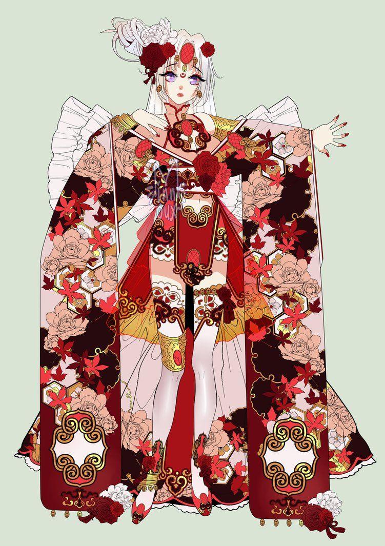 By minnoux on deviantart anime kimono character design
